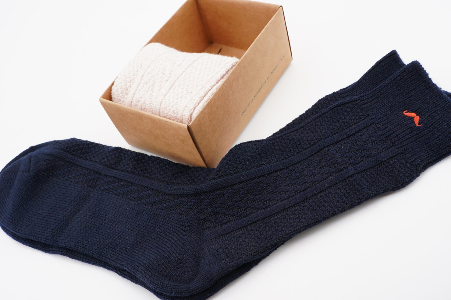PACK OF 2 SOCKS -MOUNTAIN ECRU, NAVY - M. MOUSTACHE