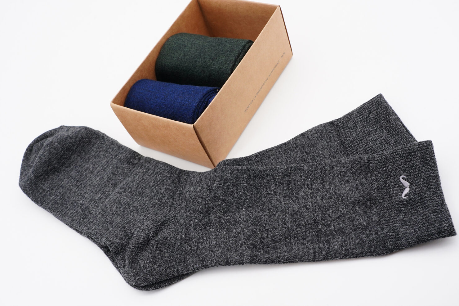 PACK OF 3 SOCKS - BLUE, GREY, GREEN - M. MOUSTACHE