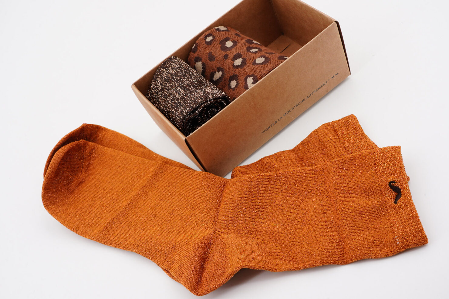 PACK OF 3 SOCKS - PAILLETTES AND BROWN LEOPARD- M. MOUSTACHE