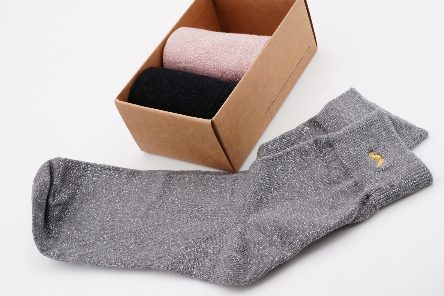 PACK OF 3 SOCKS - PAILLETTES SILVER PINK AND BLACK - M. MOUSTACHE