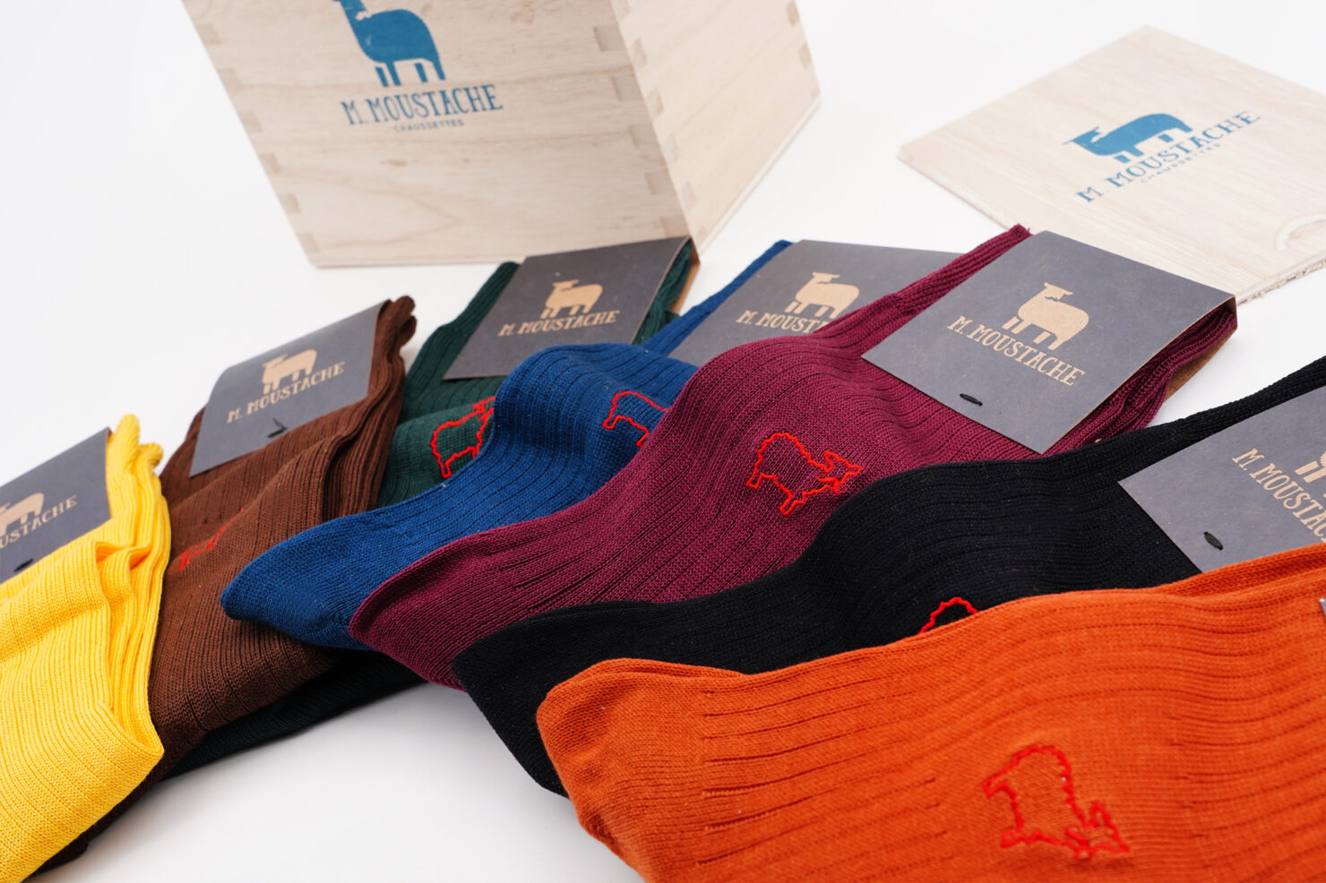 WEEKLY MULTICOLOR SOCKS BOX open - M. MOUSTACHE