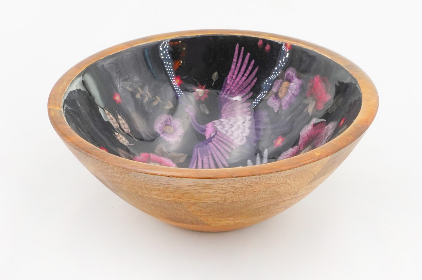BOWL CRANE PURPLE MANGO WOOD 18CM - BY ROOM