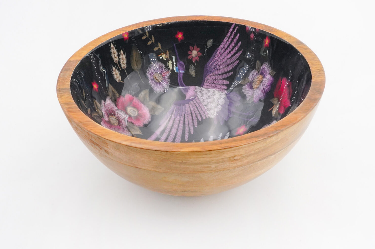 BOWL CRANE PURPLE MANGO WOOD 25 CM - BY ROOM