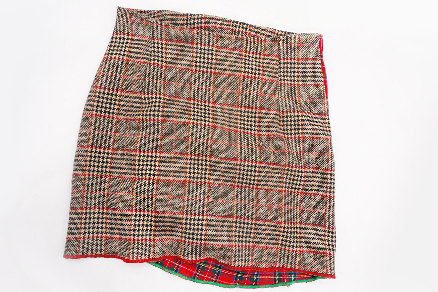 Tartan patchwork mini skirt