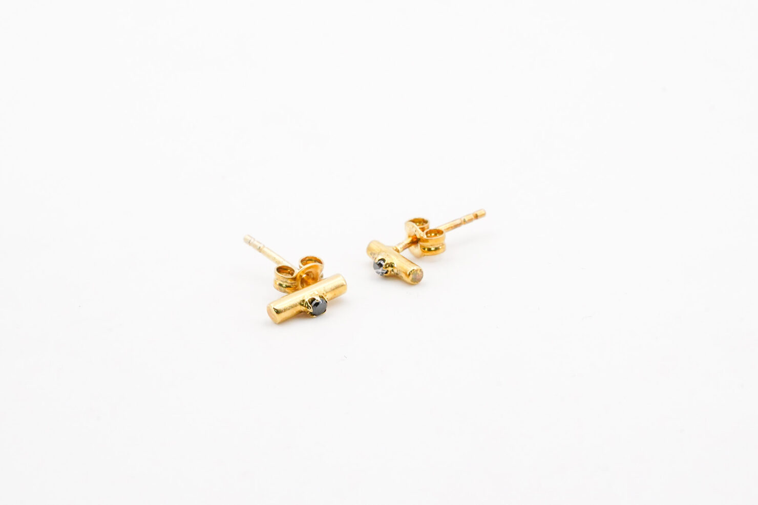 ONYX STUD SILVER GOLDPLATED - ANNA + NINA
