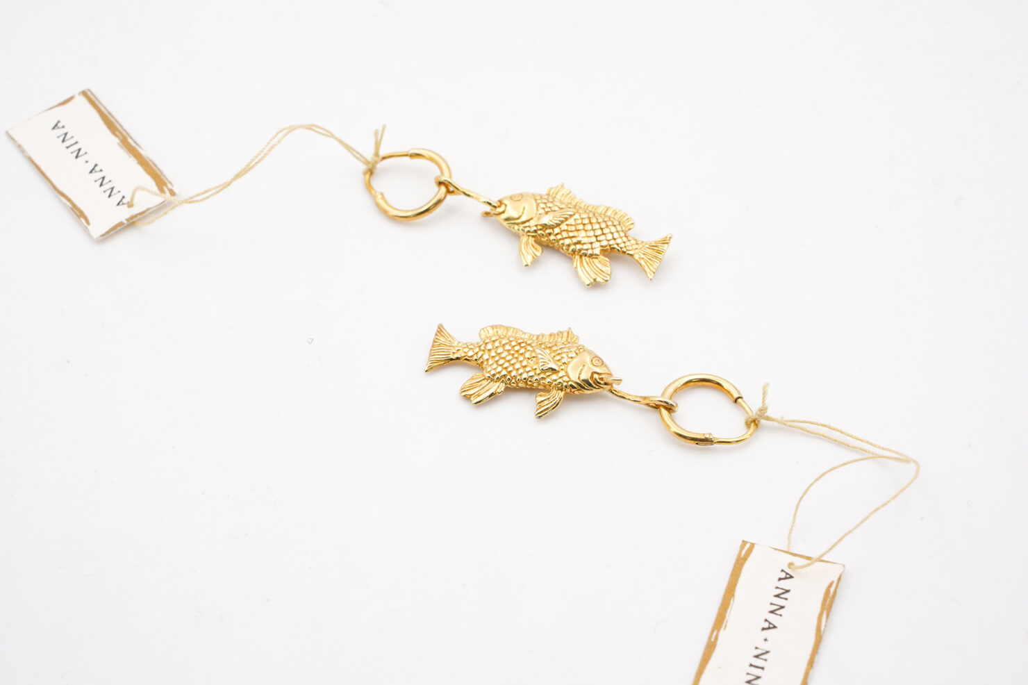 SINGLE FISH RING EARRING SILVER GOLPLATED - ANNA + NINA